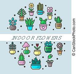 Indoor flowers and house plants in flowerpots vector poster ...