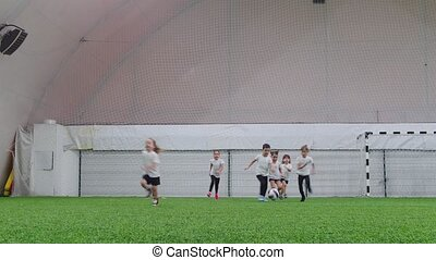 Indoor football arena. Little kids playing football. Running...