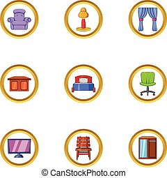 Indoor furniture icon set, cartoon style