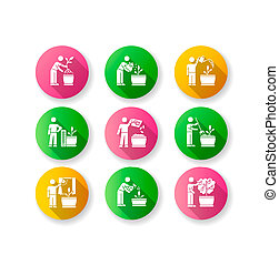 Indoor gardening stages flat design long shadow glyph icons set. Houseplant caring. Repotting, watering. Fertilizing, spraying. Propagating flowers. Silhouette RGB color illustration