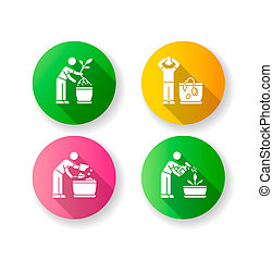 Indoor gardening stages flat design long shadow glyph icons set. Plant cultivation. Replanting, repotting plants. Wilting flower. Preparing soil for planting. Silhouette RGB color illustration