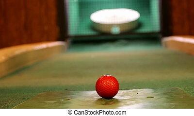 Indoor golf shot close up