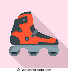 Indoor inline skates icon, flat style - Indoor inline skates...