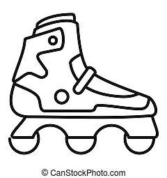 Indoor inline skates icon, outline style - Indoor inline...