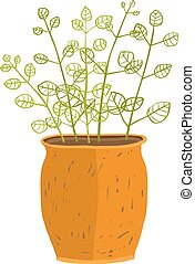 Indoor leafy plant in pot hand drawn illustration - Leaf and...
