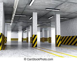 Indoor parking lot. 3D illustration - Indoor car parking lot...