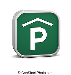 Indoor parking sign on a white background. Part of a series.