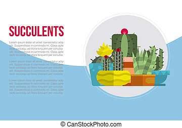 Indoor plants, succulents rosettes varieties including pin cushion cactus realistic collection cartoon vector illustration. Cacti and succulents collection banner with text and typography.