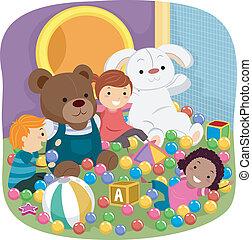 Indoor Playground Kids - Illustration Featuring Kids Playing...