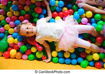 Indoor playground with colorful plastic balls for children