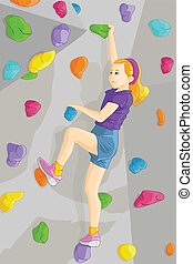 Indoor rock climber - A vector illustration of young girl ...