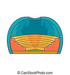 Indoor stadium icon, cartoon style