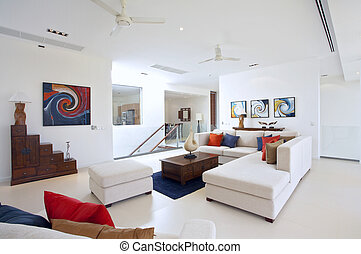 indoor - Panoramic view of nice light living room. Images on...