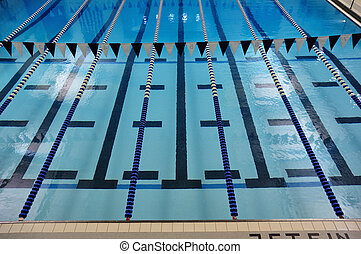 Indoor Swimming Pool with Lane Lines and Backstroke Flags