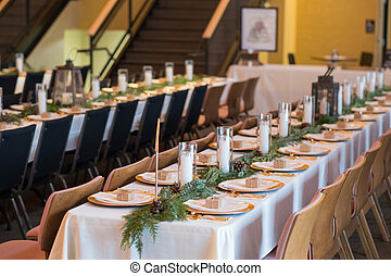 Indoor Wedding Reception Tables and Seating