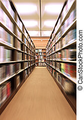 Indoors in a Library With Bookshelves Zoomed in. Focus on...