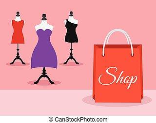 indossatrici, con, vestiti, e, sacchetto spesa, vettore