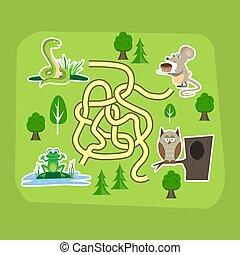 indovinello, addestramento, bambini, animali, modo, printable, puzzle, cervello, gioco, vettore, aggrovigliato, fondo, labirinto, educazione, strada, illustration.