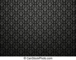 indruk, alligator, pattern., groot, victoriaans, zwarte ...