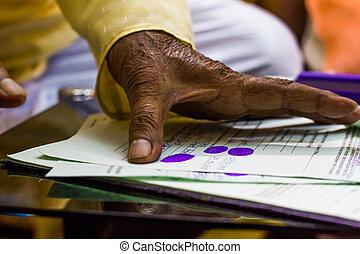 indruk, oud, duim, geven, wettelijk, man's, belangrijk, documents., hand