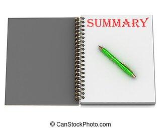 indskrift, notesbog, side, resumé