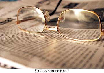 indstille, på, aftenen, nyhed