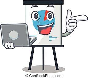 indstudering, laptop, corona, cartoon, student, graph, dygtige, karakter
