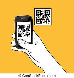 indtagelse, kode, smartphone, qr