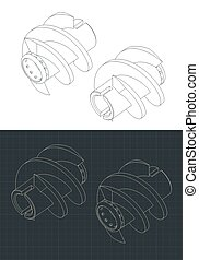 Stylized vector illustration of isometric drawings of inducer for cryogenic pump