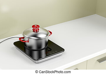 Induction cooktop and cooking pot - Modern induction cooktop...