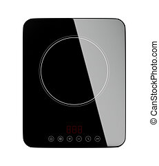Induction cooktop - Top view of portable induction cooktop,...