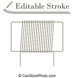 Inductor Coil Icon. Editable Stroke Simple Design. Vector Illustration.