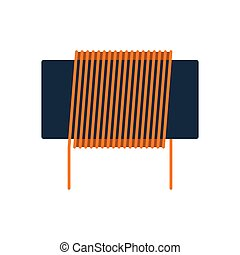 Inductor coil icon. Flat color design. Vector illustration.