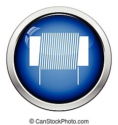 Inductor coil icon. Glossy button design. Vector illustration.