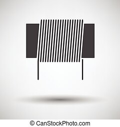 Inductor coil icon on gray background with round shadow. Vector illustration.