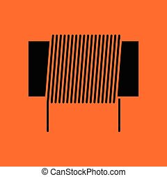 Inductor coil icon. Orange background with black. Vector illustration.