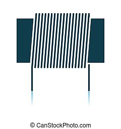 Inductor Coil Icon. Shadow Reflection Design. Vector Illustration.