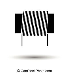 Inductor coil icon. White background with shadow design. Vector illustration.