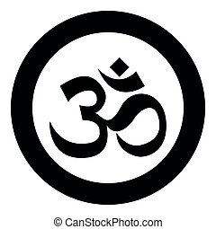Induism symbol Om sign icon black color vector illustration simple image
