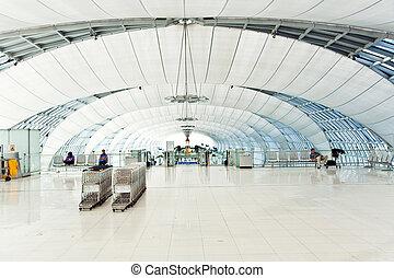 indulás, bangkok, repülőtér, suvarnabhumi, kapu, új, ...