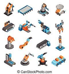 industial, isometric, robô, ícones