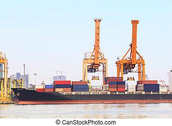 industri, beholder afsend, havn
