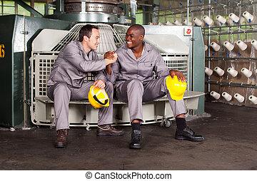 industri, blåa seldon arbetare, brödraskap