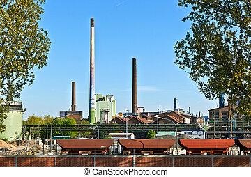industri, parkera, med, silo, och, lampglas, in,...