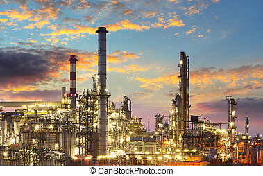 industri, raffinaderi, -, skymning, gas, olja