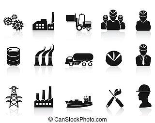 industri, sæt, sort, iconerne