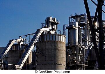 industri, ved, fabrik