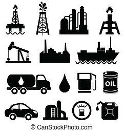 industria, aceite, conjunto, icono