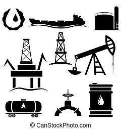 industria, aceite, conjunto, iconos