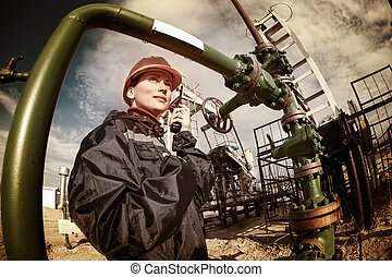 industria, aceite, gas, worker.
